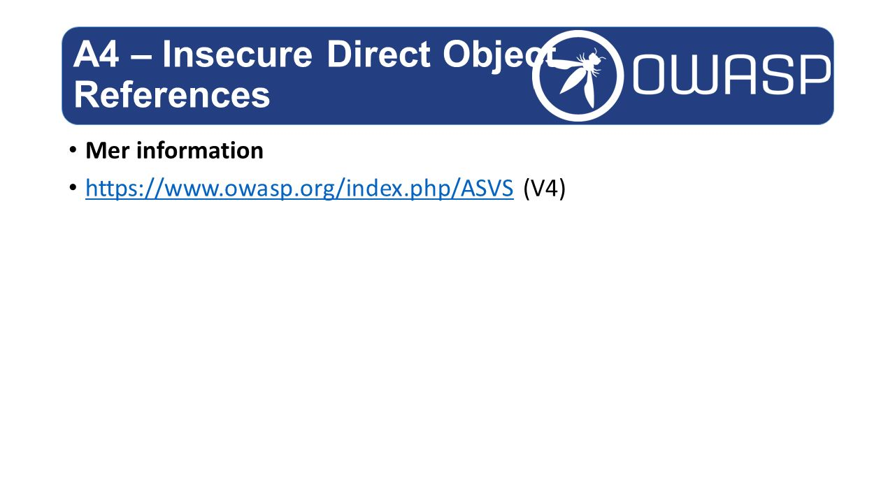 A4 – Insecure Direct Object References