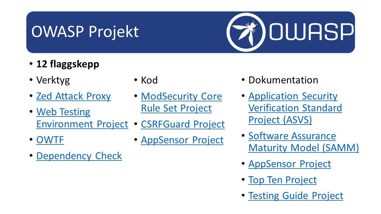 OWASP Projekt 12 flaggskepp Verktyg Zed Attack Proxy
