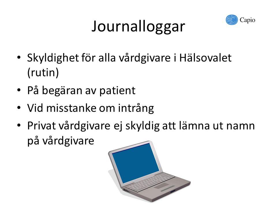 Journalloggar Skyldighet för alla vårdgivare i Hälsovalet (rutin)