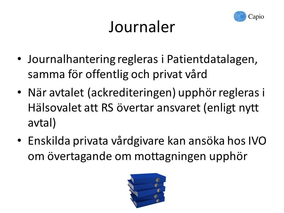 Journaler Journalhantering regleras i Patientdatalagen, samma för offentlig och privat vård.