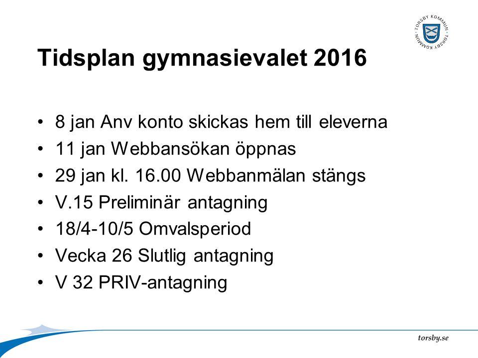 Tidsplan gymnasievalet 2016