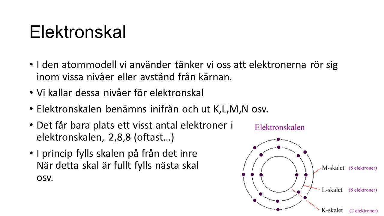 Elektronskal I den atommodell vi använder tänker vi oss att elektronerna rör sig inom vissa nivåer eller avstånd från kärnan.