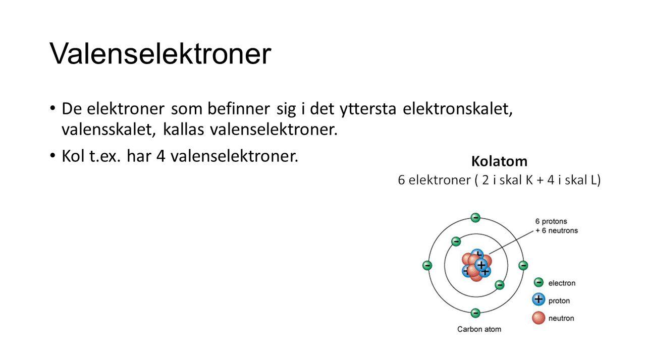Valenselektroner De elektroner som befinner sig i det yttersta elektronskalet, valensskalet, kallas valenselektroner.