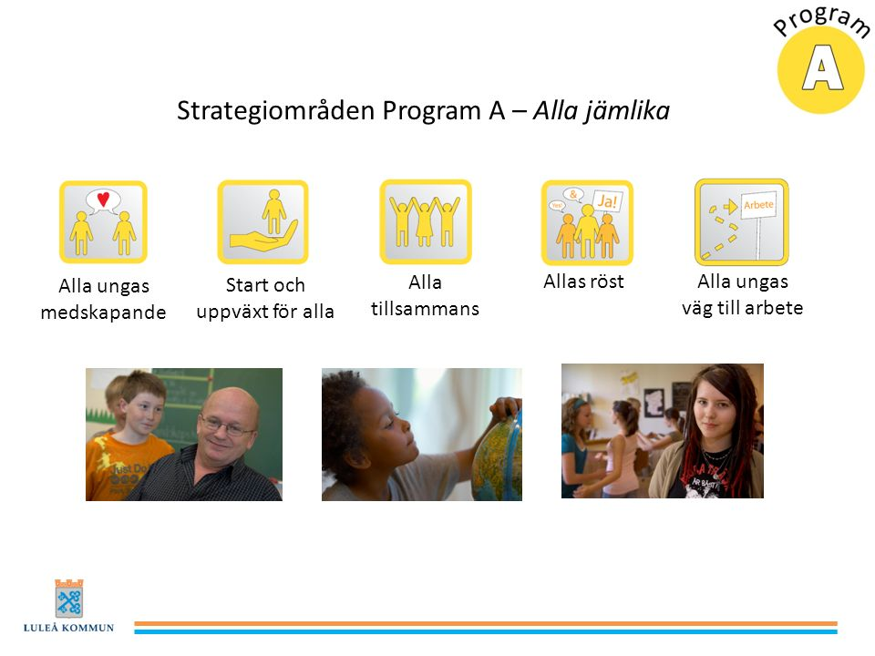 Strategiområden Program A – Alla jämlika