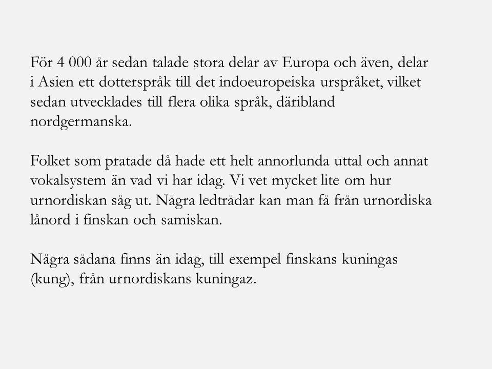 För 4 000 år sedan talade stora delar av Europa och även, delar i Asien ett dotterspråk till det indoeuropeiska urspråket, vilket sedan utvecklades till flera olika språk, däribland nordgermanska.