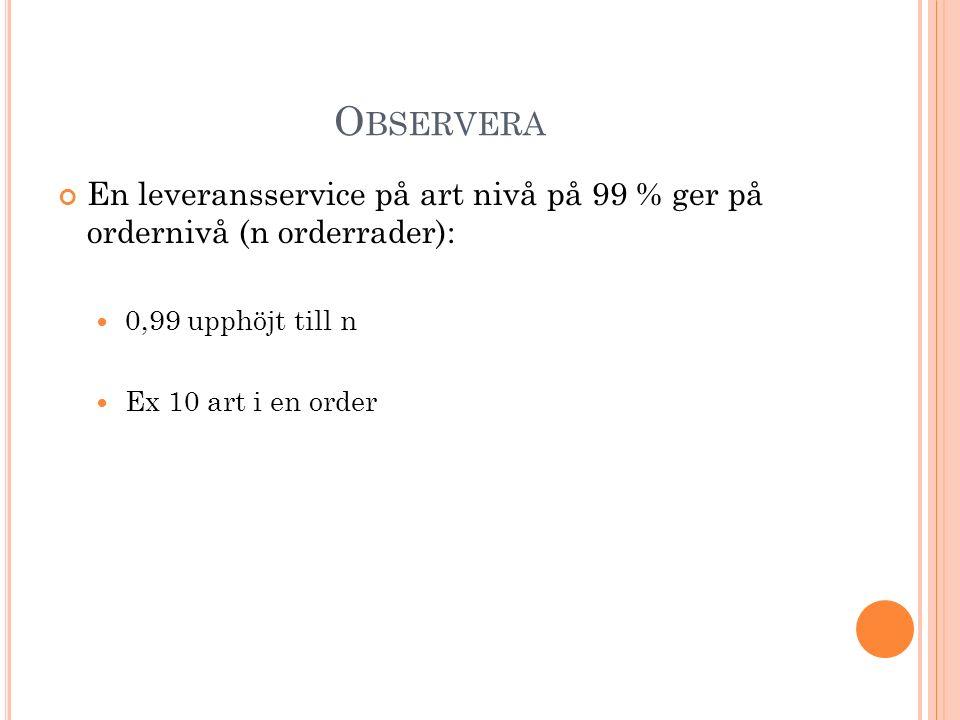 Observera En leveransservice på art nivå på 99 % ger på ordernivå (n orderrader): 0,99 upphöjt till n.