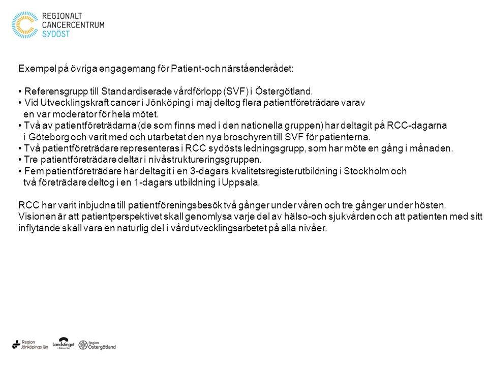 Exempel på övriga engagemang för Patient-och närståenderådet: