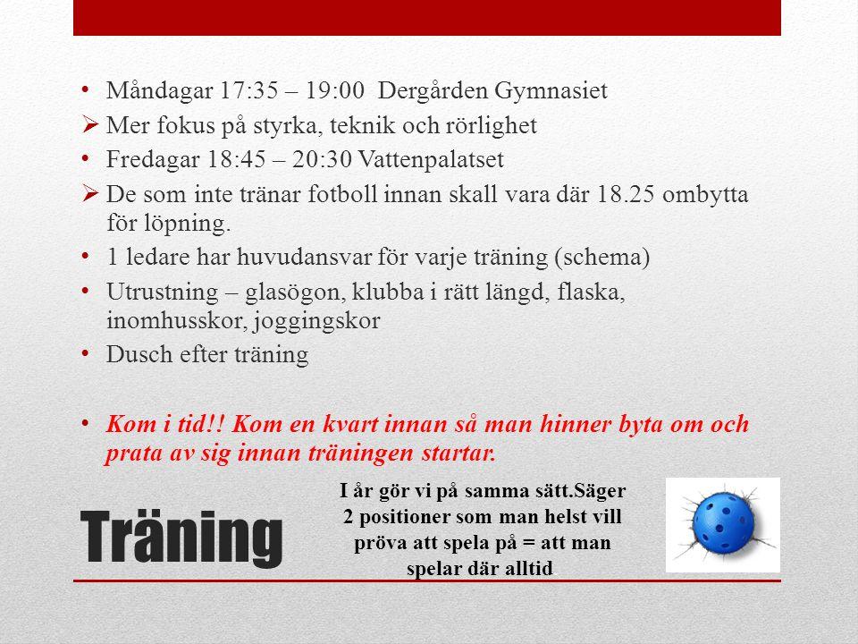 Träning Måndagar 17:35 – 19:00 Dergården Gymnasiet