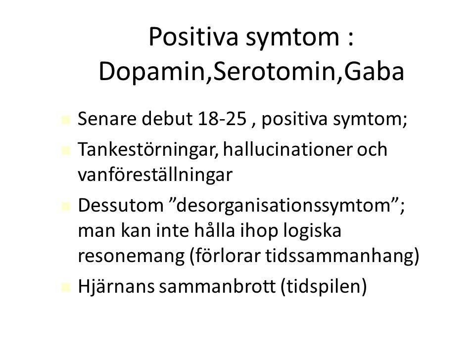 Positiva symtom : Dopamin,Serotomin,Gaba