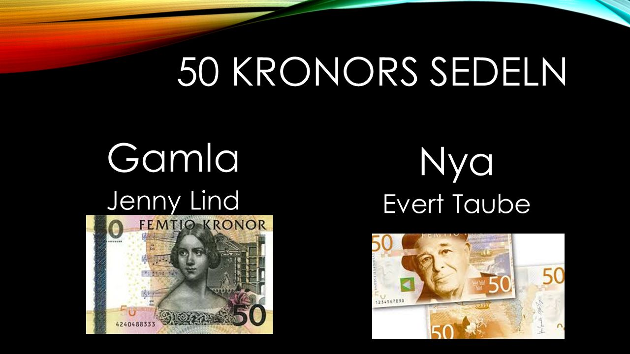 50 kronors sedeln Gamla Jenny Lind Nya Evert Taube