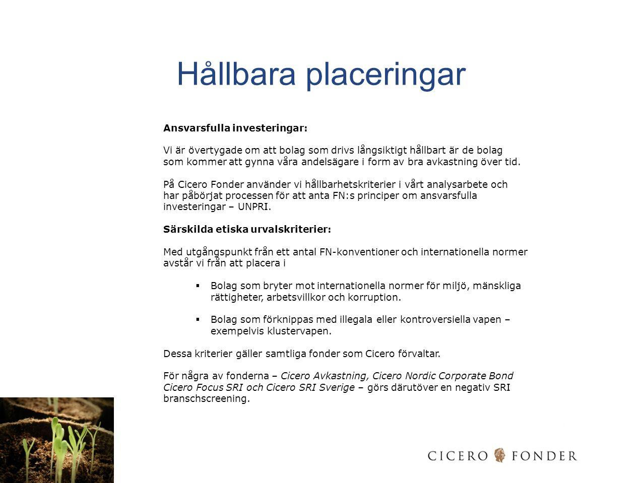 Hållbara placeringar Ansvarsfulla investeringar: