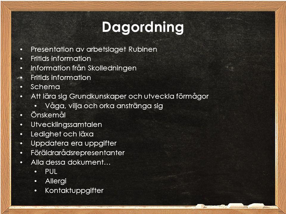 Dagordning Presentation av arbetslaget Rubinen Fritids information