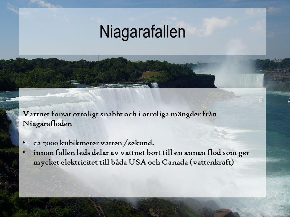 Niagarafallen Vattnet forsar otroligt snabbt och i otroliga mängder från Niagarafloden. ca 2000 kubikmeter vatten /sekund.