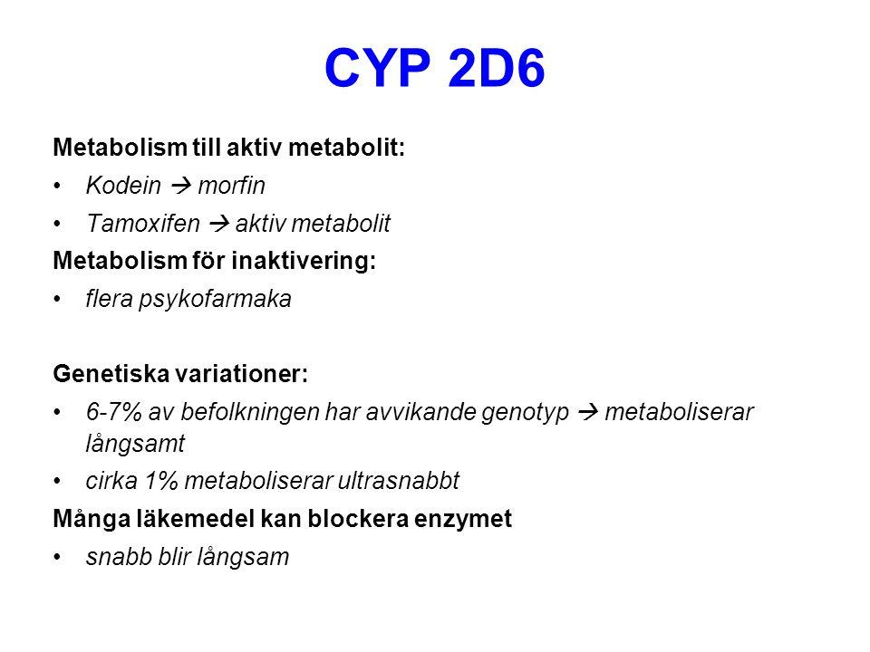 CYP 2D6 Metabolism till aktiv metabolit: Kodein  morfin