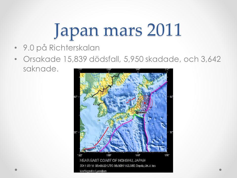 Japan mars 2011 9.0 på Richterskalan
