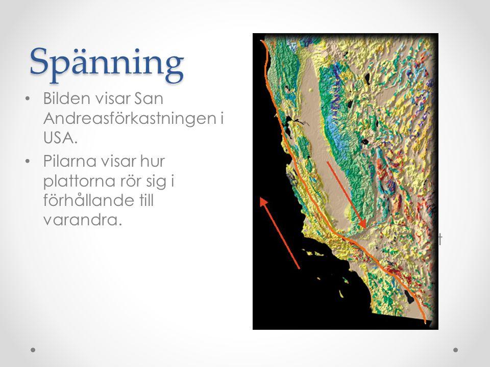 Spänning Bilden visar San Andreasförkastningen i USA.