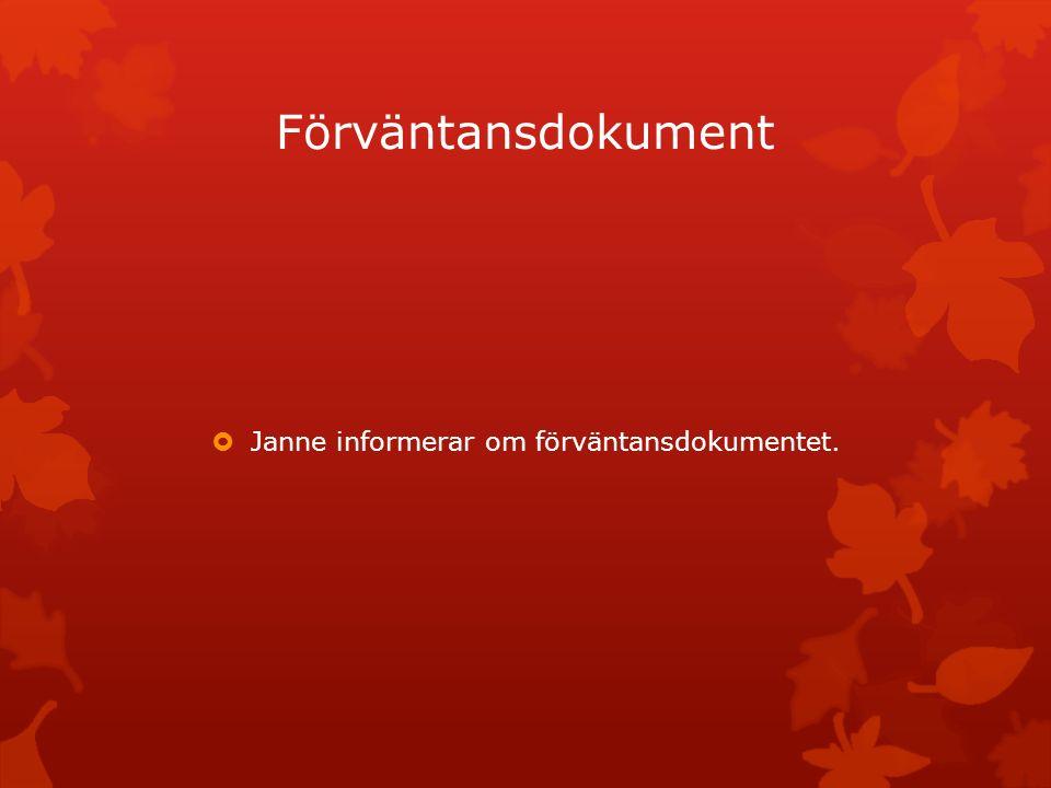 Janne informerar om förväntansdokumentet.