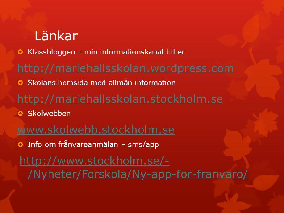 Länkar http://mariehallsskolan.wordpress.com