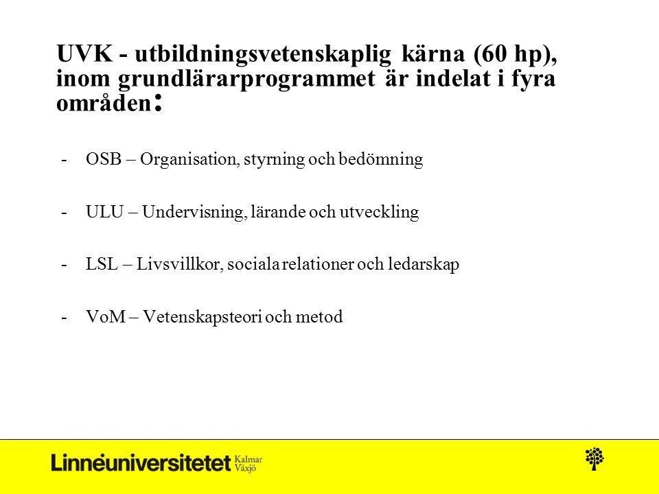 UVK - utbildningsvetenskaplig kärna (60 hp), inom grundlärarprogrammet är indelat i fyra områden: