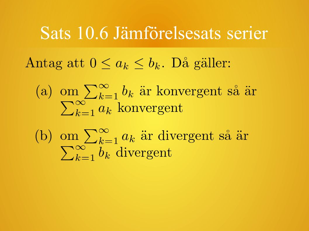 Sats 10.6 Jämförelsesats serier