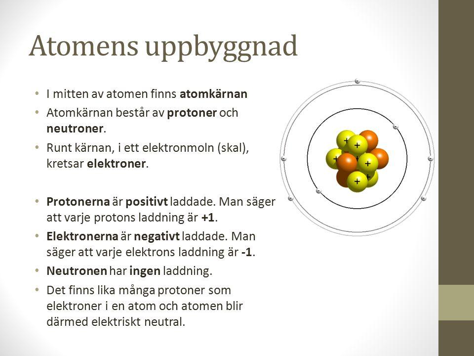 Atomens uppbyggnad I mitten av atomen finns atomkärnan
