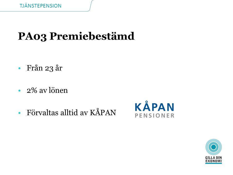 PA03 Premiebestämd Från 23 år 2% av lönen Förvaltas alltid av KÅPAN