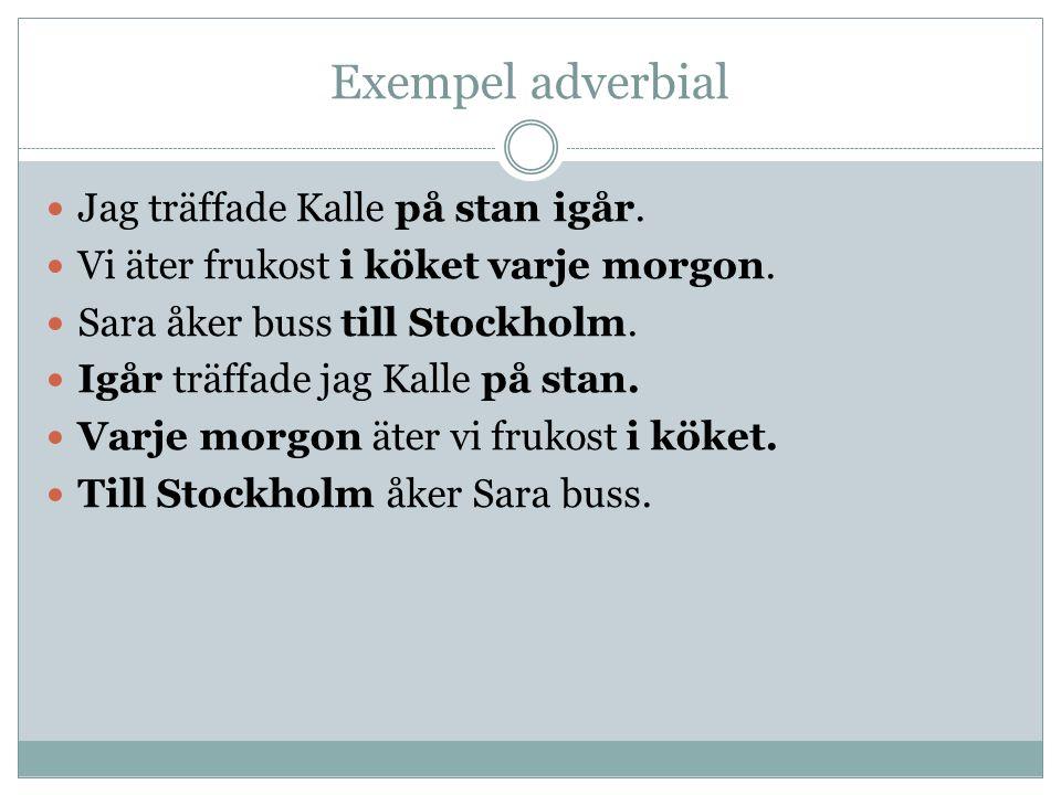 Exempel adverbial Jag träffade Kalle på stan igår.