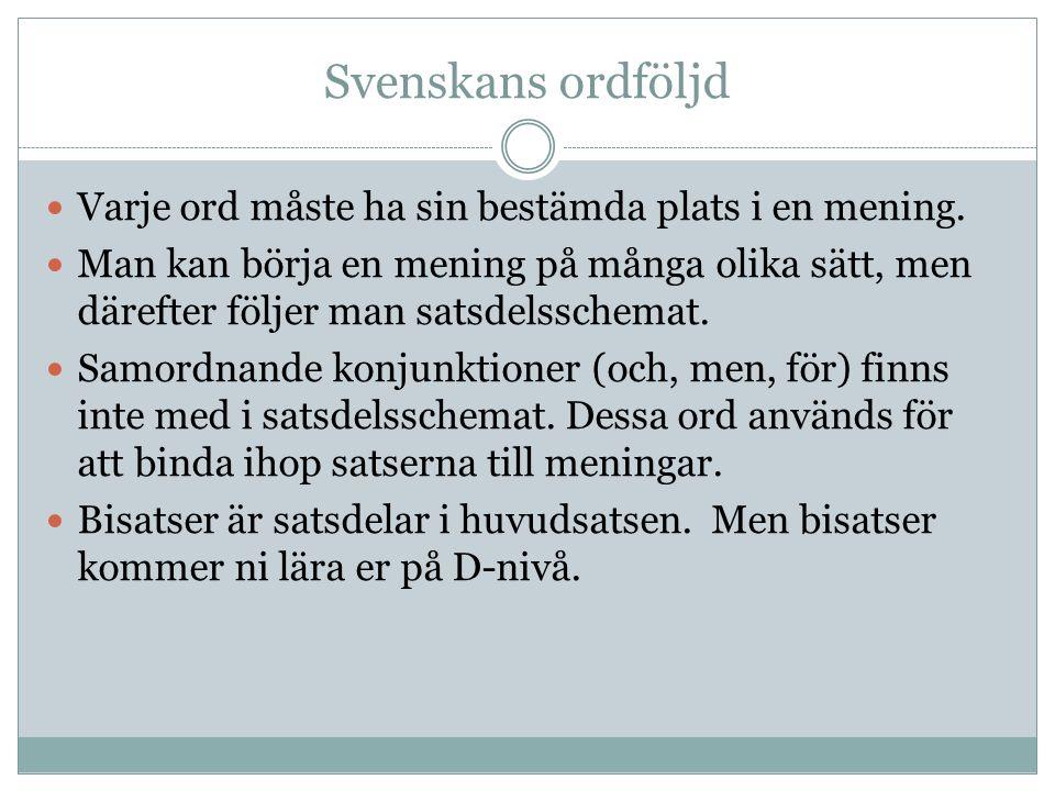 Svenskans ordföljd Varje ord måste ha sin bestämda plats i en mening.