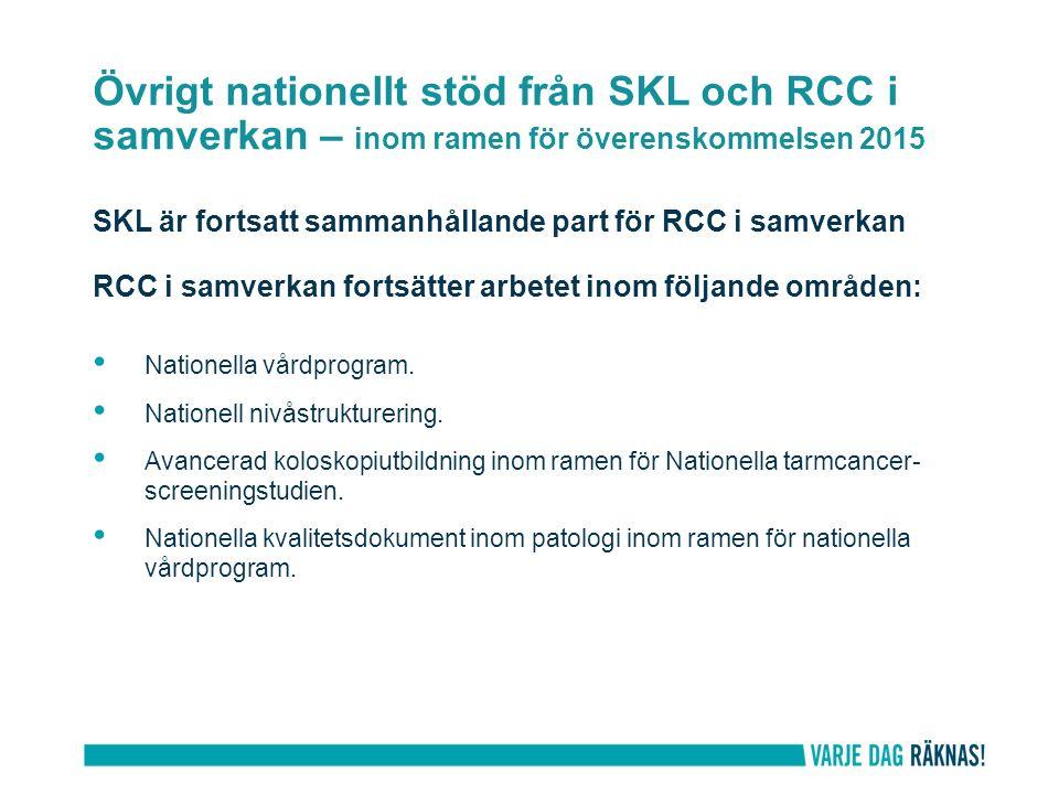 Övrigt nationellt stöd från SKL och RCC i samverkan – inom ramen för överenskommelsen 2015