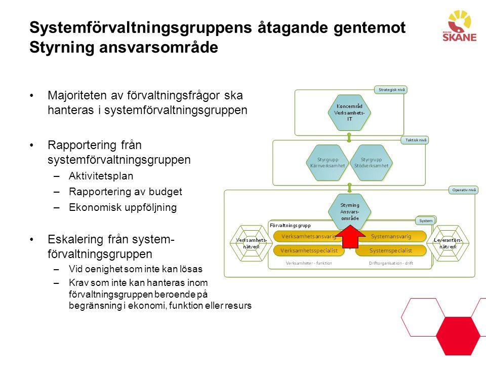 Systemförvaltningsgruppens åtagande gentemot Styrning ansvarsområde