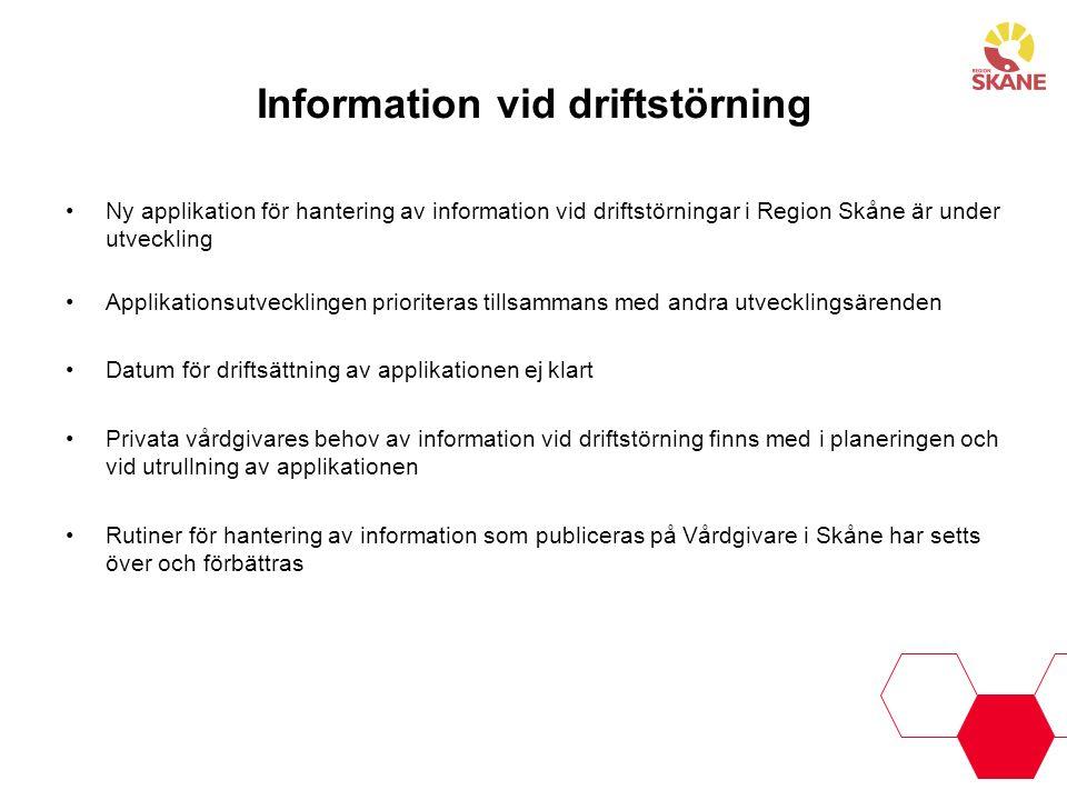 Information vid driftstörning
