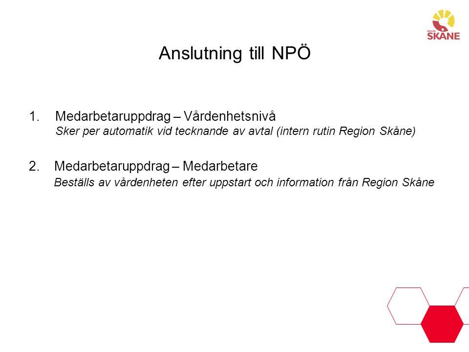 Anslutning till NPÖ Medarbetaruppdrag – Vårdenhetsnivå Sker per automatik vid tecknande av avtal (intern rutin Region Skåne)