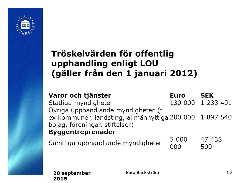 Tröskelvärden för offentlig upphandling enligt LOU (gäller från den 1 januari 2012)