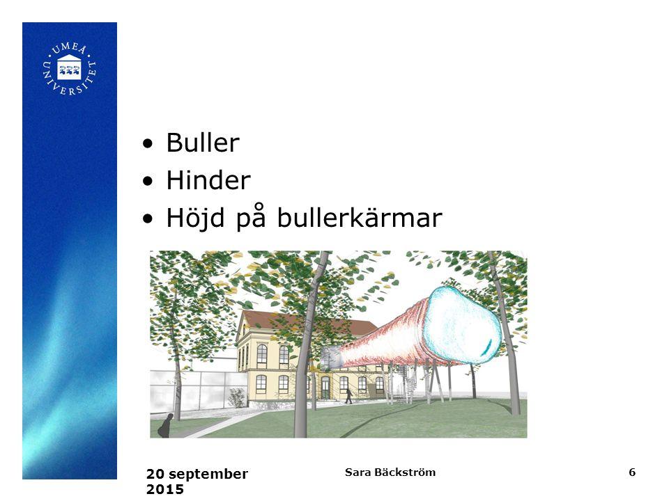 Buller Hinder Höjd på bullerkärmar 22 april 2017 Sara Bäckström