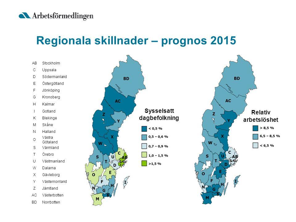 Regionala skillnader – prognos 2015