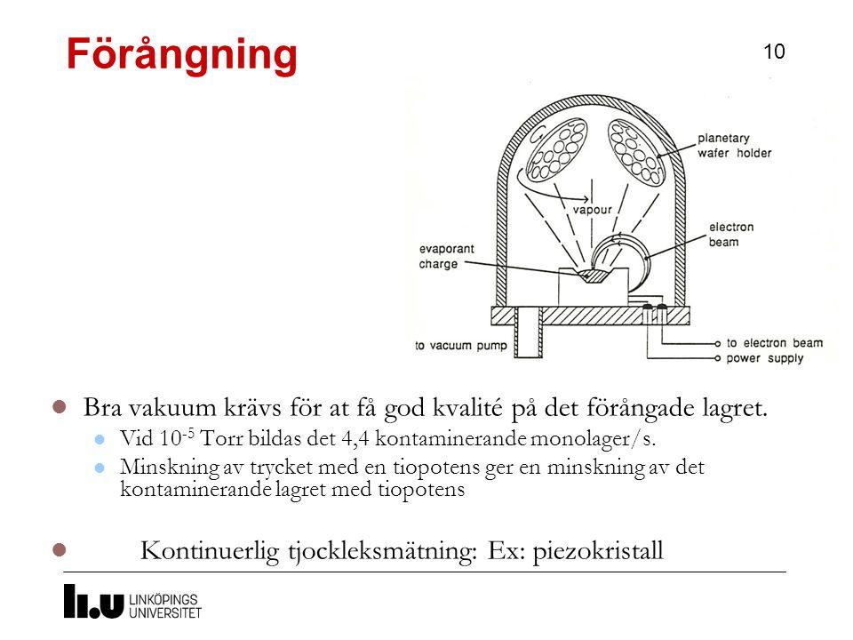 Förångning Bra vakuum krävs för at få god kvalité på det förångade lagret. Vid 10-5 Torr bildas det 4,4 kontaminerande monolager/s.