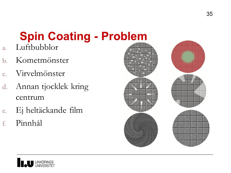 Spin Coating - Problem Luftbubblor Kometmönster Virvelmönster