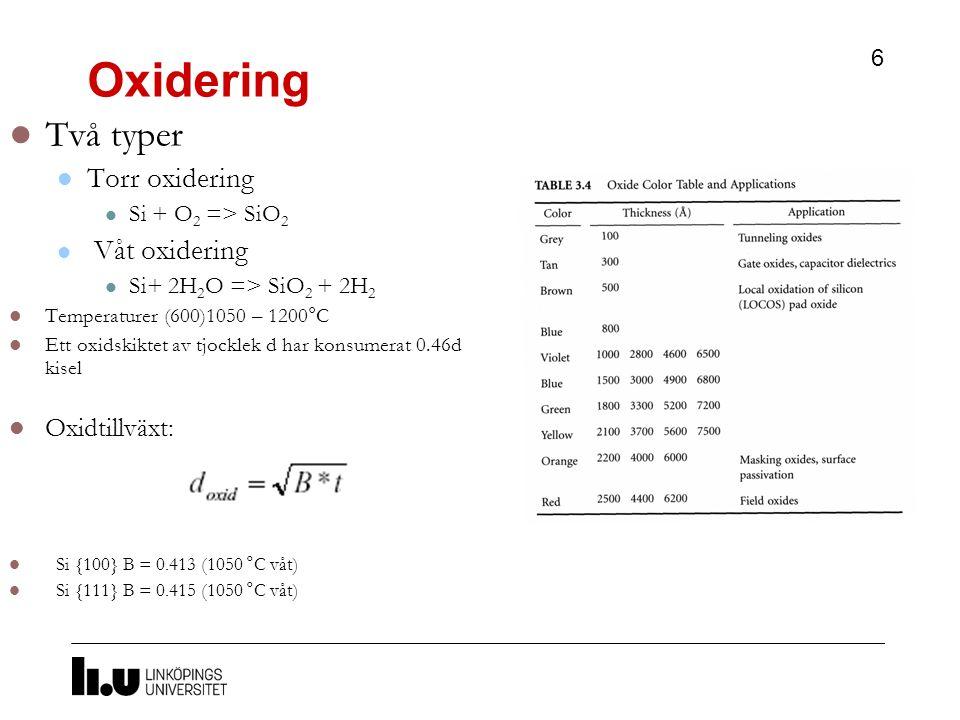 Oxidering Två typer Torr oxidering Våt oxidering Oxidtillväxt:
