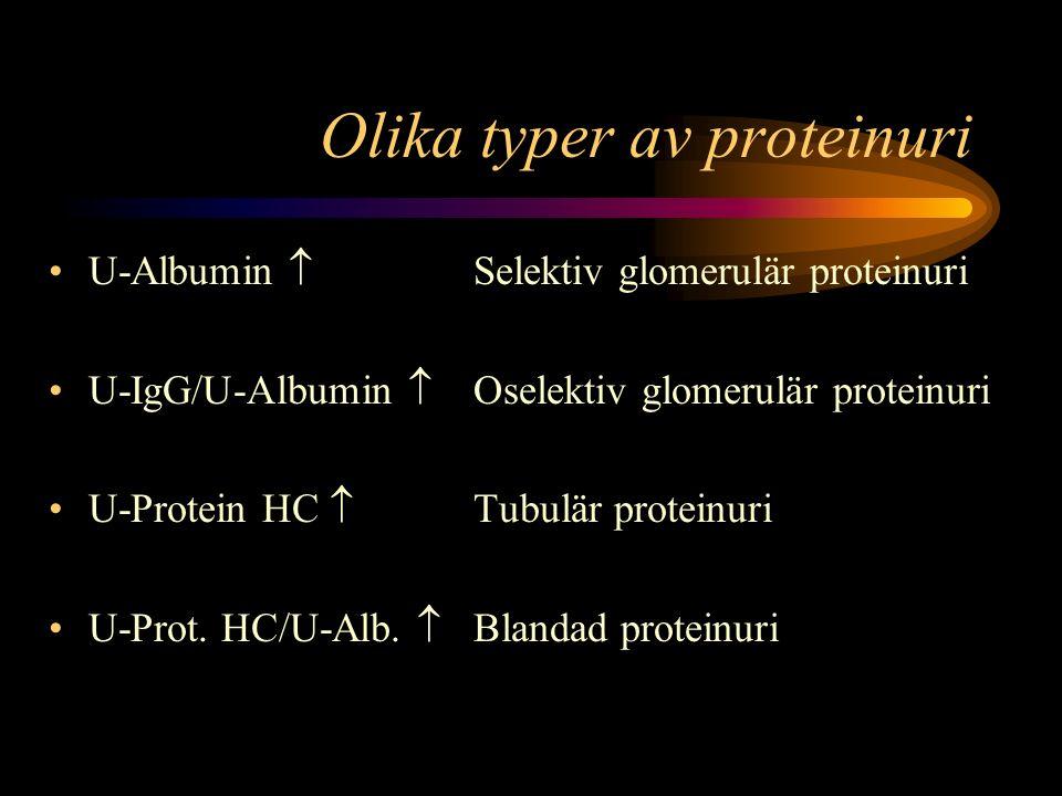 Olika typer av proteinuri