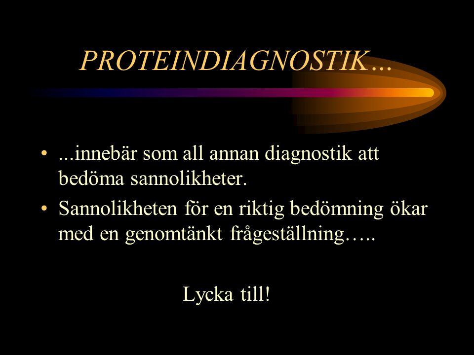 PROTEINDIAGNOSTIK… ...innebär som all annan diagnostik att bedöma sannolikheter.