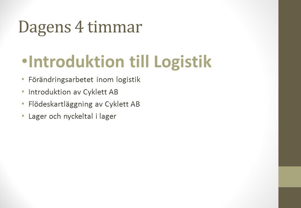 Introduktion till Logistik
