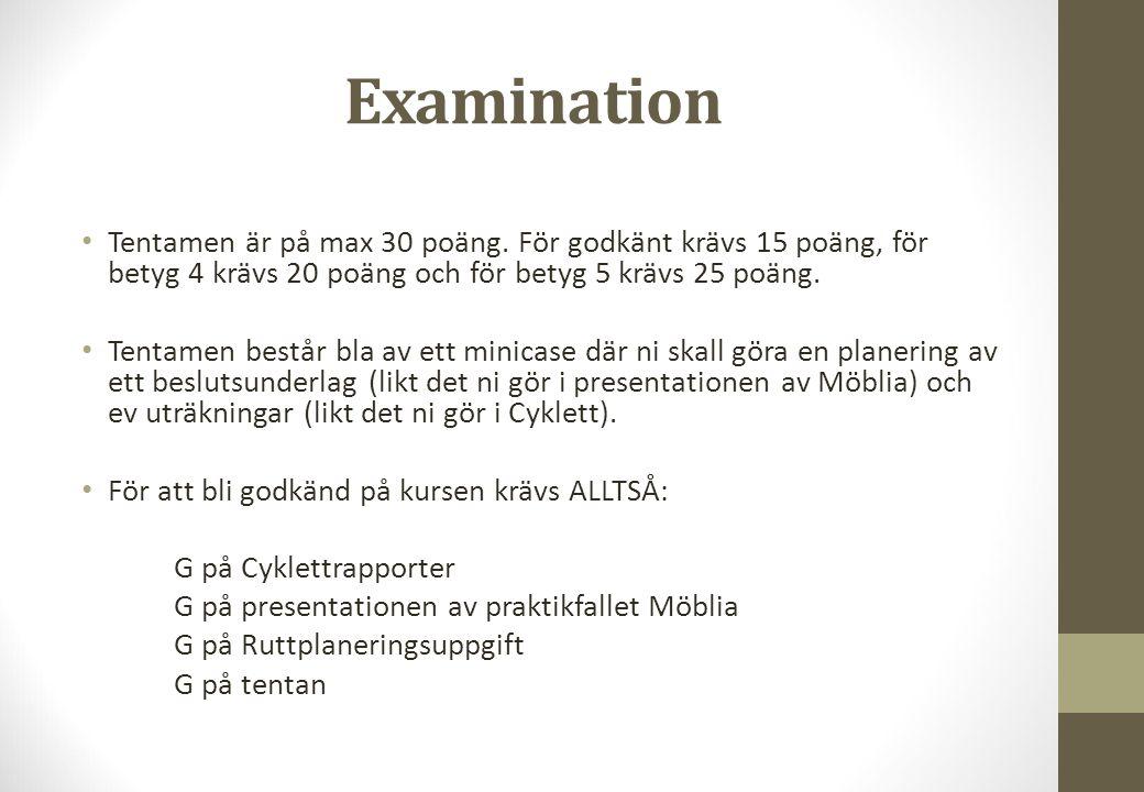 Examination Tentamen är på max 30 poäng. För godkänt krävs 15 poäng, för betyg 4 krävs 20 poäng och för betyg 5 krävs 25 poäng.