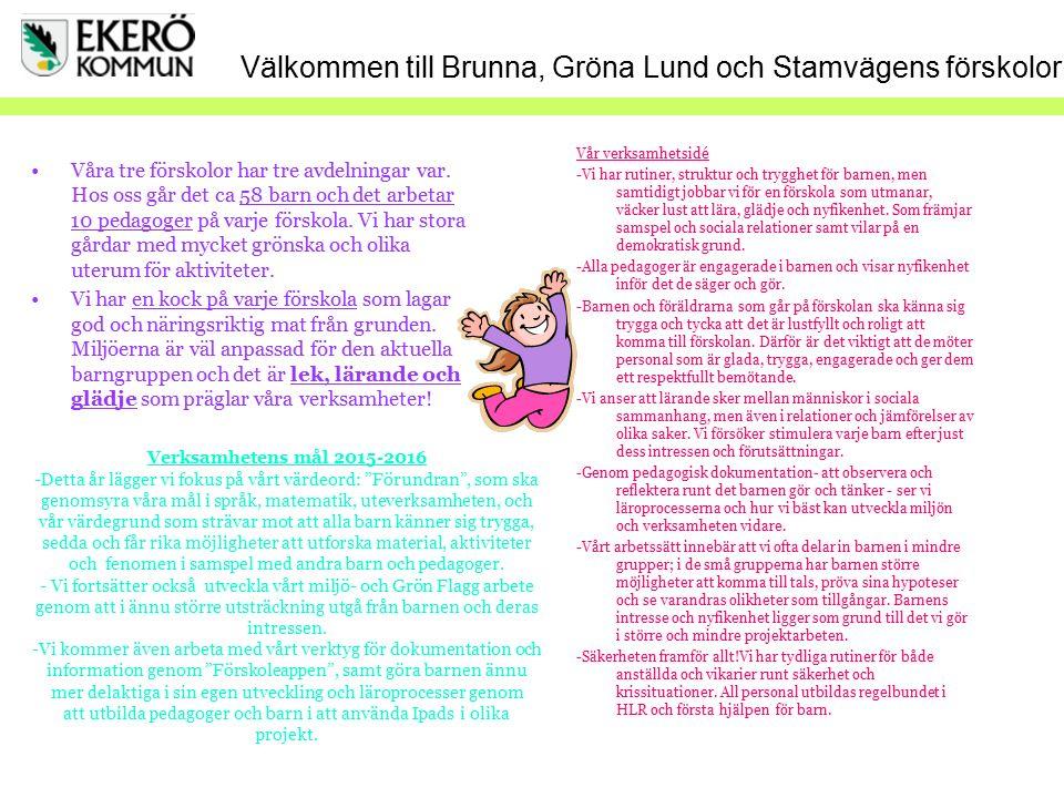 Välkommen till Brunna, Gröna Lund och Stamvägens förskolor