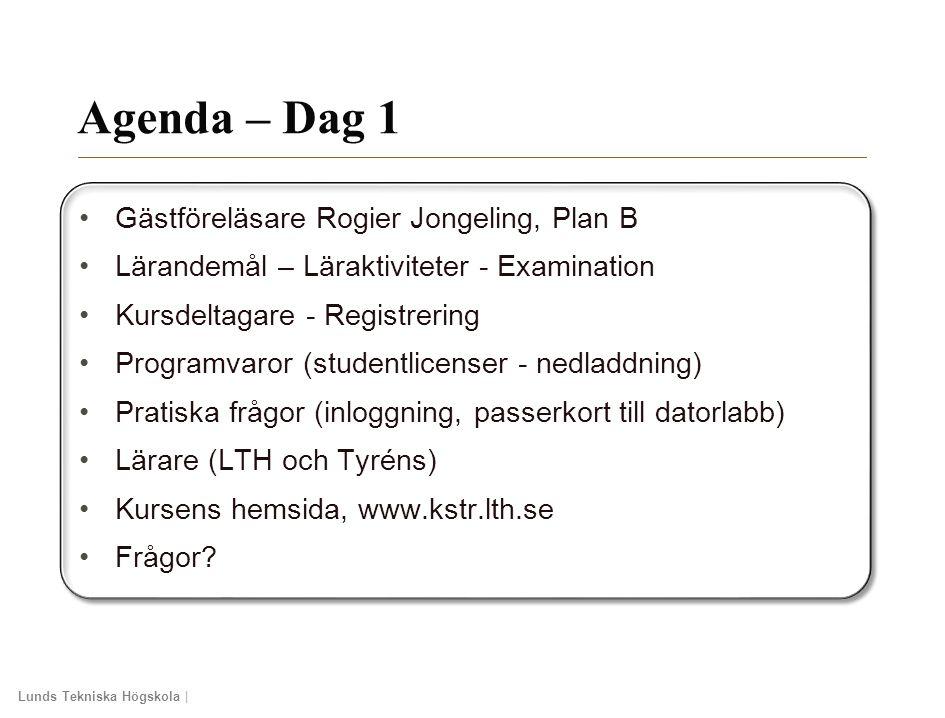 Agenda – Dag 1 Gästföreläsare Rogier Jongeling, Plan B