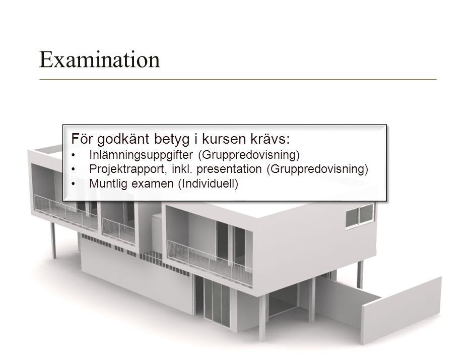 Examination För godkänt betyg i kursen krävs:
