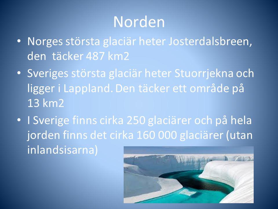 Norden Norges största glaciär heter Josterdalsbreen, den täcker 487 km2.