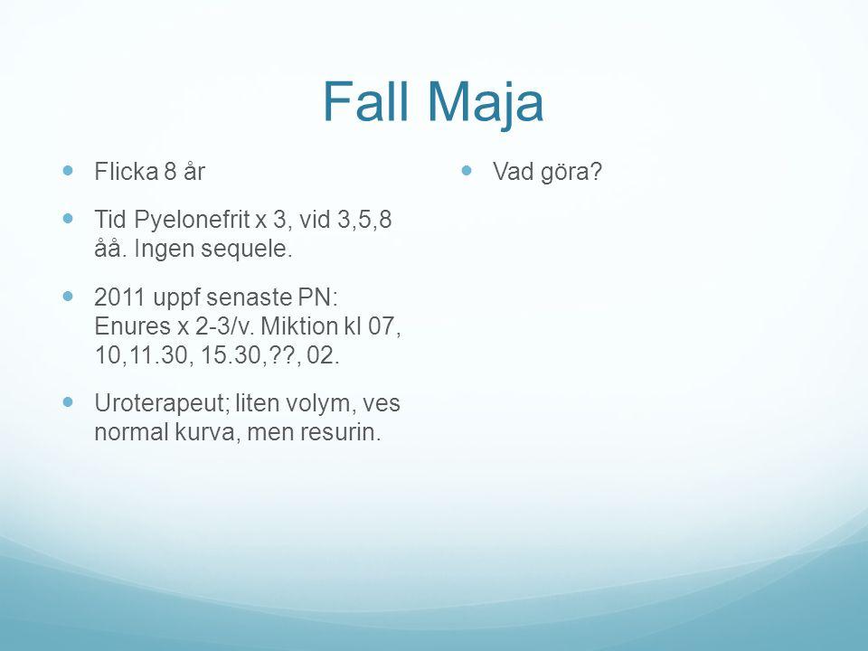 Fall Maja Flicka 8 år. Tid Pyelonefrit x 3, vid 3,5,8 åå. Ingen sequele.