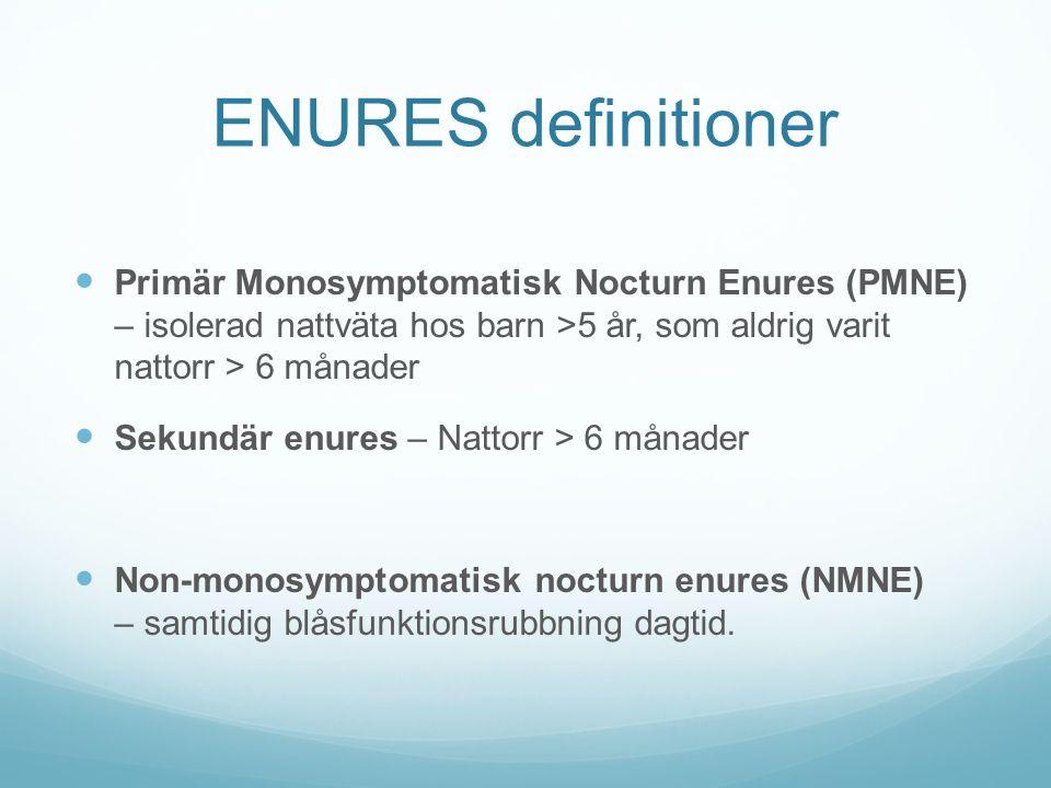 ENURES definitioner Primär Monosymptomatisk Nocturn Enures (PMNE) – isolerad nattväta hos barn >5 år, som aldrig varit nattorr > 6 månader.