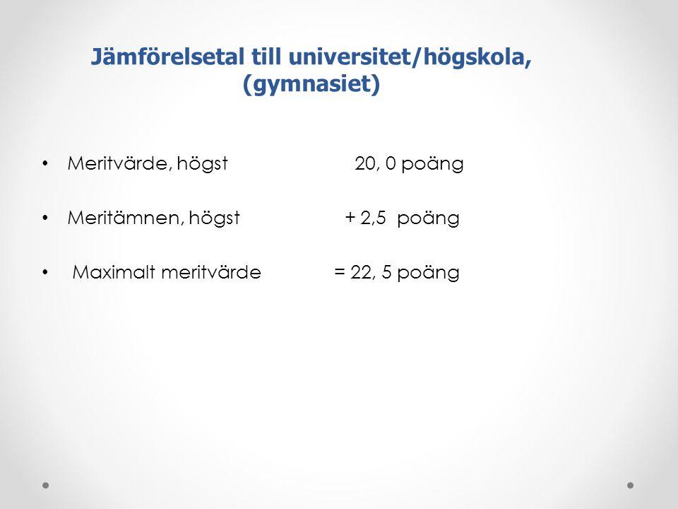 Jämförelsetal till universitet/högskola, (gymnasiet)