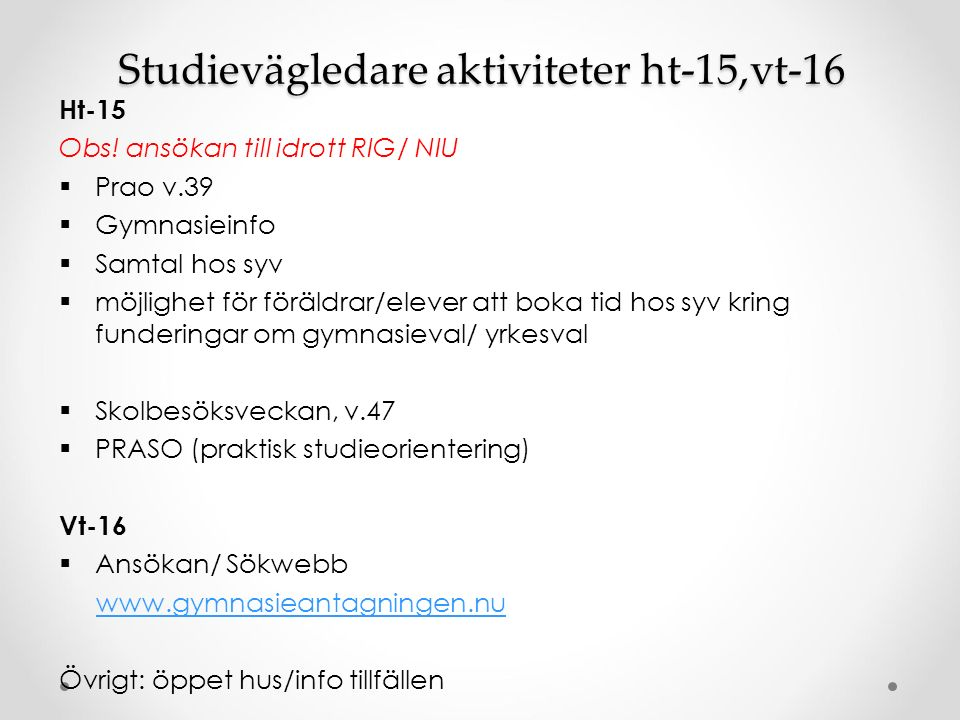 Studievägledare aktiviteter ht-15,vt-16